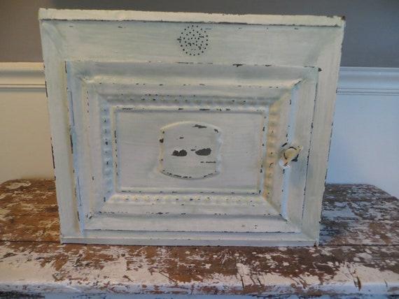 Antique Pie Safe Metal Pie Safe Painted Pie Safe Rustic Decor Chippy Decor Shabby Decor Bread Box Vintage Bread Box