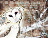 Wise & Wonderful Owl with Poem-Open Edition Print from my Original Painting