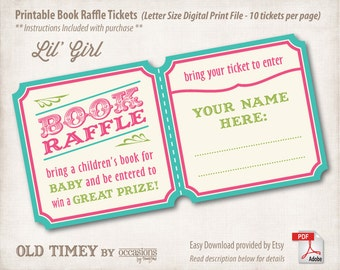 INSTANT DOWNLOAD, Printable Baby Shower Book Raffle Tickets, Letter Size, Digital File, Old Timey, Lil' Girl, Pink, Baby Girl