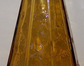 Wheaton Glass Co. NJ Amber Color Cone Shape Bottle with Flowers Around the Base