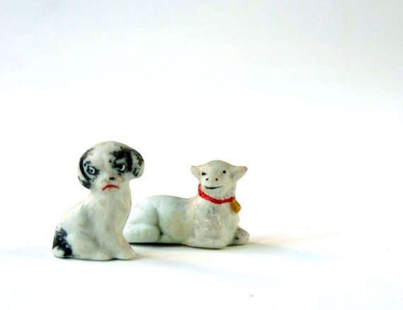 Antique china lamb and china pup, miniature figurines, another odd couple