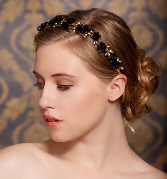 Black, Flower Hair Crown, Bridal Hair Wreath, Woodland, Rustic, Flower Headband, Tiara, Wedding Headpiece - Ready to Ship - LARK