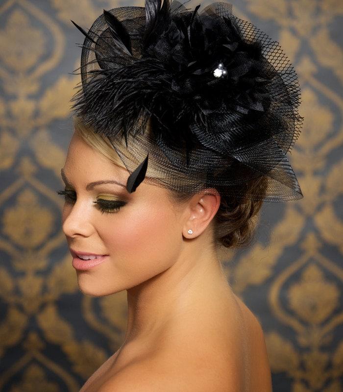 Black Fascinator Bridal Hat Wedding Hair Accessories