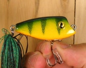Fishing Lure, Hand Made by Uncle Jay, Floating Little Big Eye in Yellow Perch pattern