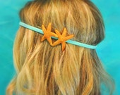 Starfish Headband Double Starfish Hippie Headwrap Mermaid Hair Tiffany Blue