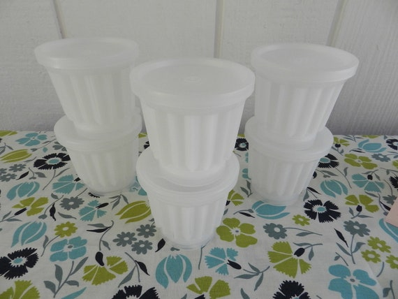 Vintage Tupperware Jel-ette Jello Mold Set of 6 MINT mini dessert cups with printed insert Made in USA