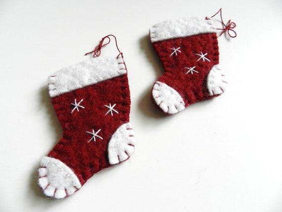 Handmade Christmas Wool Felt Ornament Snowflake on Red Stocking Santa's Boot Set of 2