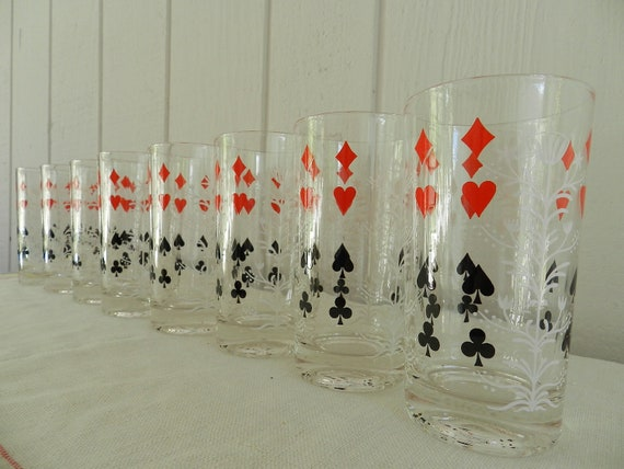 Vintage Federal Glass Trump Tree Merry Maker Beverage Set of 8 Great for Game Night