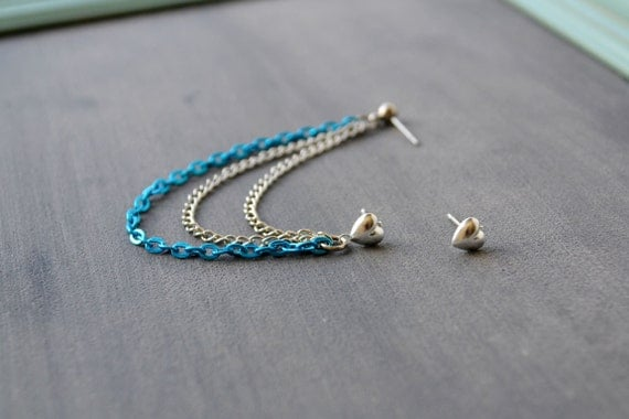 Silver and Electric Blue Chains Heart Cartilage Earring (Pair)