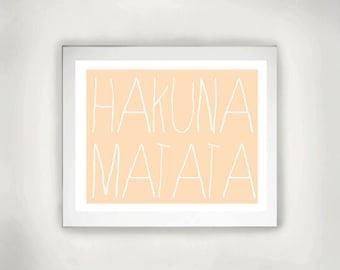 Printable Art, Inspirational Print, Typography Quote, Motivational Poster, Wall Decor, digital download-HAKUNA MATATA