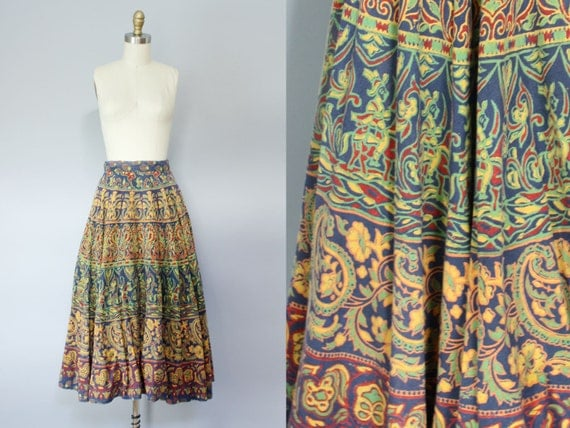 1950s skirt, 50s circle skirt, novelty print, HARVEST MOON full skirt XS S