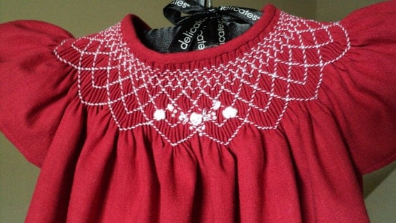 Red smocked bishop dress size 6m-12m