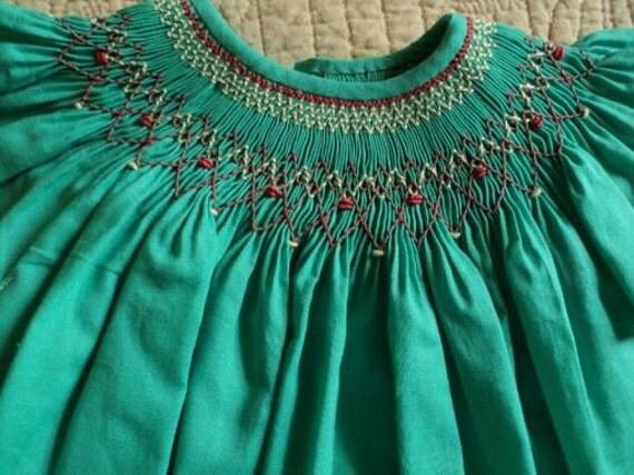 handmade smocked bishop turquoise