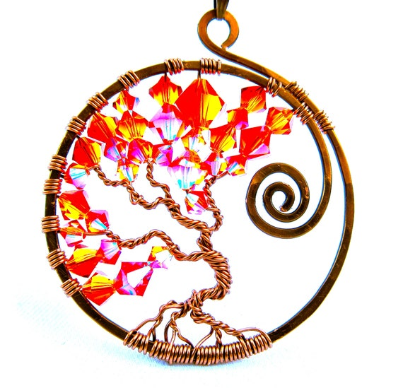 Tree of Life Pendant - Swarovski Crystals, Fire Opal AB2X, with Non-tarnish Dark Copper Wire and Brown Nylon Choker Cord