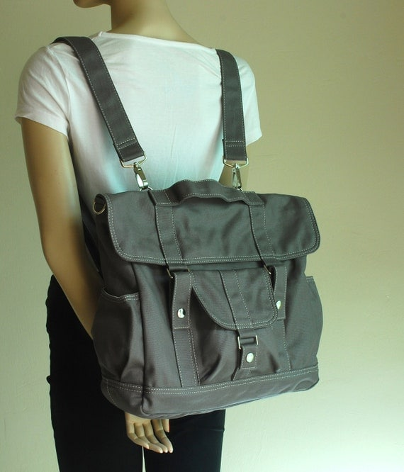 Sale SALE - Pico2, BackPack,  Waxed Grey, Satchel, Rucksack, Messenger Backpack, School Backpack, Waxed Canvas Backpack,  40% Off