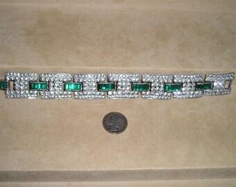 Vintage Art Deco Rhinestone Bracelet 1920's Green Baguettes Jewelry 2132