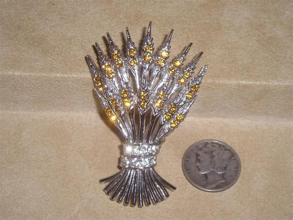 Signed Ora Rhinestone Brooch Vintage Shock Of Wheat Pin 1940's Jewelry 3093