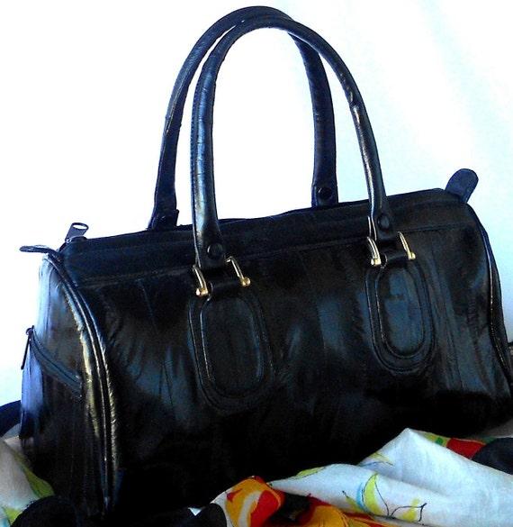 Black Eel Skin Speedy Bag