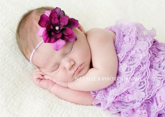 Baby Headbands - Purple Headbands - Baby Flower Headbands - Photography Headband