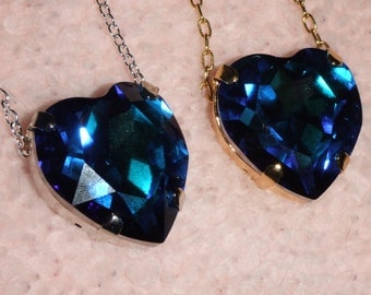 Ocean Heart - Swarovski Bermuda Blue Crystal Heart Necklace in Gold or Silver Setting