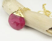 Ruby Pendant Necklace, Pendant Necklace, Gemstone Necklace, Briolette Necklace, Ruby Jewelry, Gemstone Jewelry Gold Jewelry