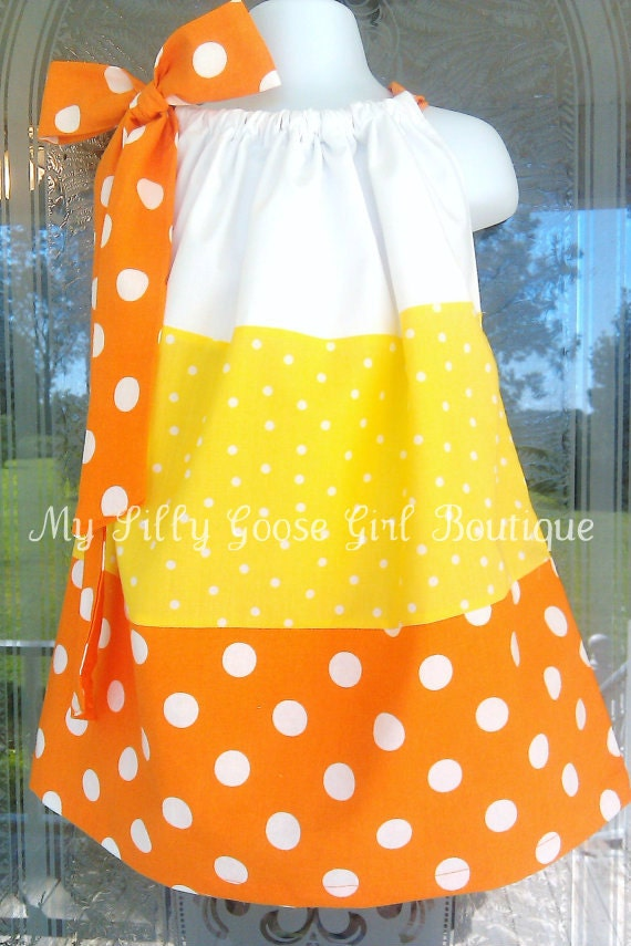 Candy Corn Pillowcase Dress