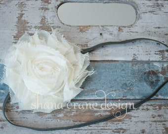 Valerie . Headband . Shabby Chiffon Flower . Off White