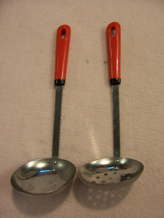 Vintage Soup Ladle Red Handled Smaller Sized Stainless Steel Japan Set of 2
