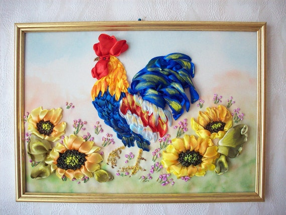 Items Similar To Picture Rooster Sunflowers Wall Decor