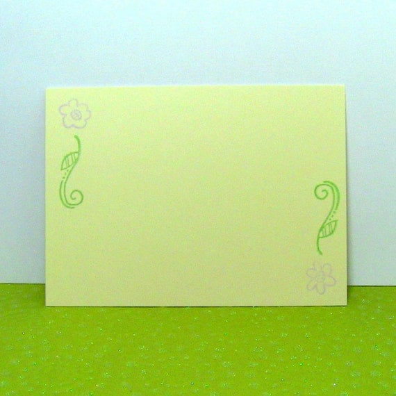 Simple Purple Flowers Note Cards / Everyday Stationery on Yellow Set of 7 - Ready To Ship