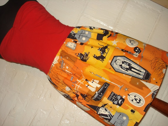 Orange Halloween High Waisted Ladies Mini Skirt -  Handmade & Ready to Ship