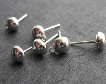 5 pairs Surgical Stainless Steel Half Ball Post Earrings with Loop 6mm Ball