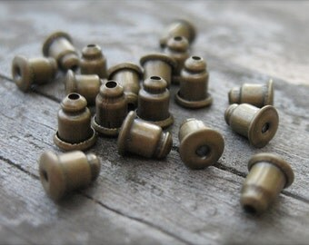 25 pairs Bronze Mechanical Earring Backs 6mm by 5mm