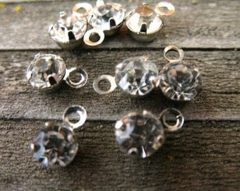 50 Rhinestone Charms 4mm Silver with Clear Crystal