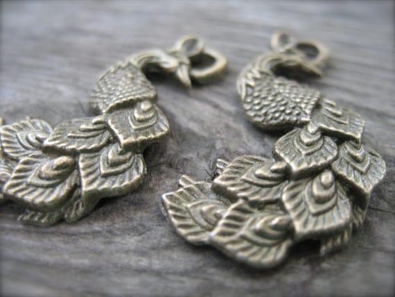 Bronze Peacock Pendants, Antiqued Bronze, 2 pcs