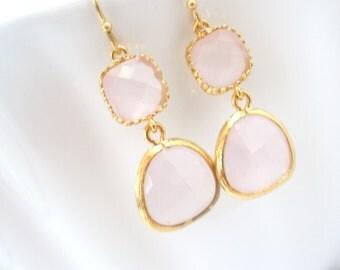 Pink Earrings, Glass Earrings, Gold Earrings, Ice Pink, Light Pink, Wedding, Bridesmaid Earrings, Bridal Earrings Jewelry, Bridesmaid Gifts