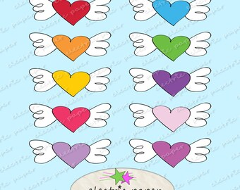 Heart With Wings Clip Art Set - Doodle Art - Winged Heart- set of 10 - Instant Download