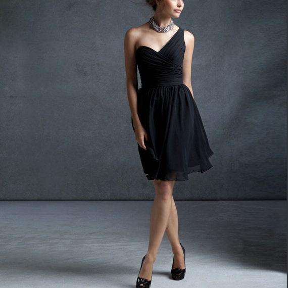 chiffon party dress, black bridesmaid dress, one shoulder formal dress wedding dress (B012 )