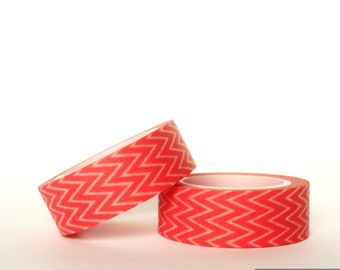 Coral Horizontal Chevron Washi Tape