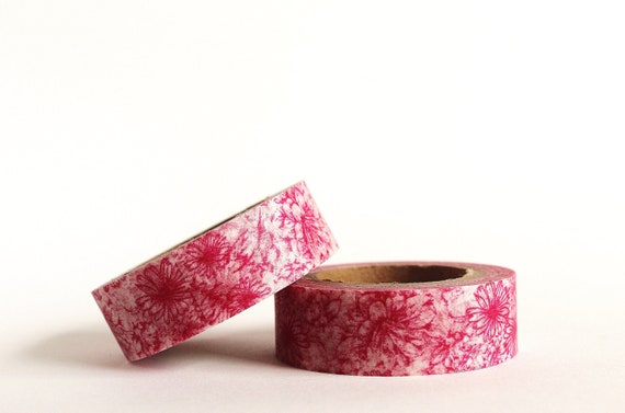 Dark Pink Floral Washi Tape