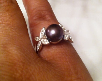 Sterling Black Pearl and White Topaz Ring, Size 6 On sale from 250.00