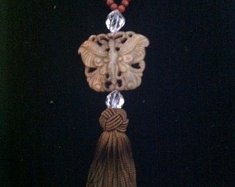 Vintage Carved Jade Butterfly with Crystal and Buddhist Prayer Beads Silk Tassel SALE