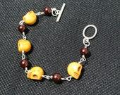 yellow skull and brown beaded bracelet, skull bracelet, handmade bracelet, original bracelet, one of a kind bracelet