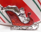 Sleigh Christmas Holiday Pin Silver Tone Red