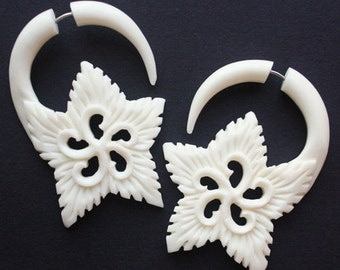 EDEN Flower - Fake Gauge Earrings - Hand Carved Natural White Bone
