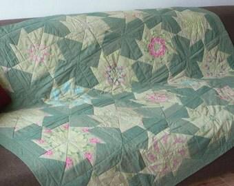 Olive green pachwork, completely handmade, quilt