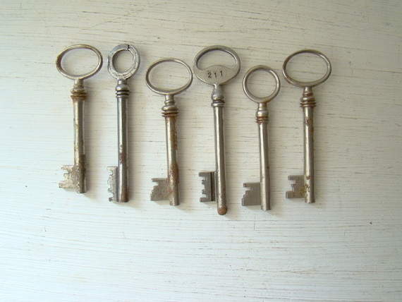 assortment of six antique skeleton keys