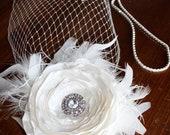 "Custom Birdcage Fascinator ""Hayley""  with Ivory Silk Flower and Diamond Headband by LasVegasVeils"