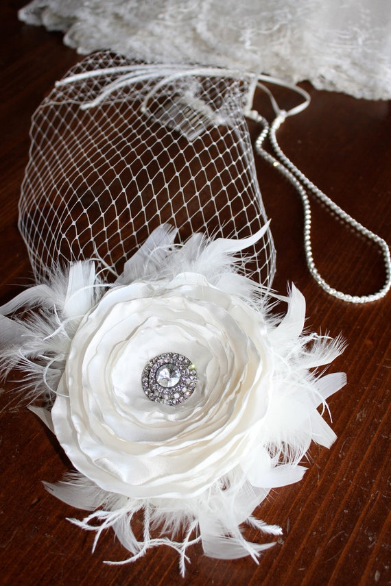 "Custom Birdcage Fascinator ""Hayley""  with Ivory Silk Flower and Diamond Headband by LasVegasVeils"