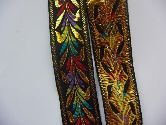 Exotic Vintage Black, Colorful, and Metallic Gold Trim